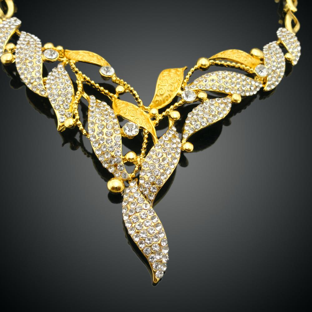 African Costume Jewelry Sets 18K Gold Plated Crystal Wedding Women Bridal Set