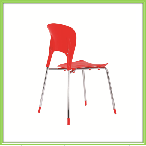 Best Selling Red Plastic Chrome Legs Dining Chair
