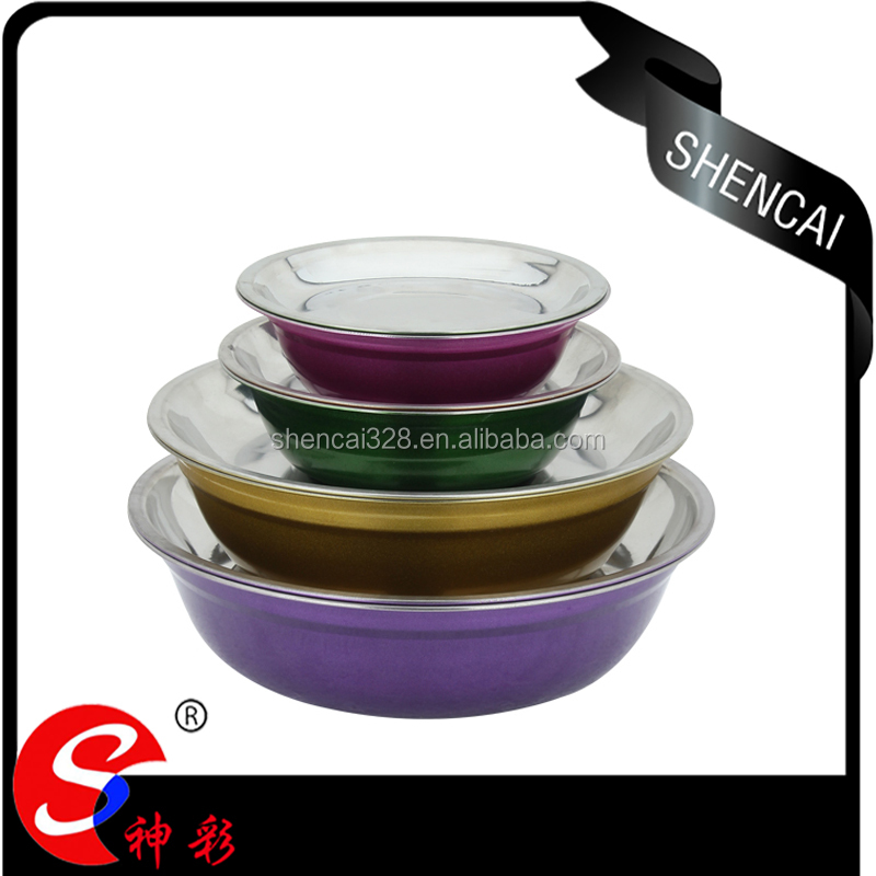 Wholesale colorful mixing bowl soup bowl stainless steel dinner plate set