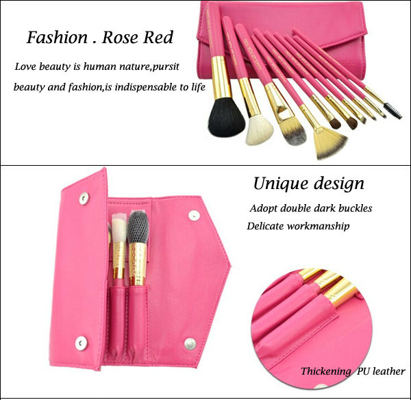 2014 China new make up brush set 10 pieces rose red with designer bag