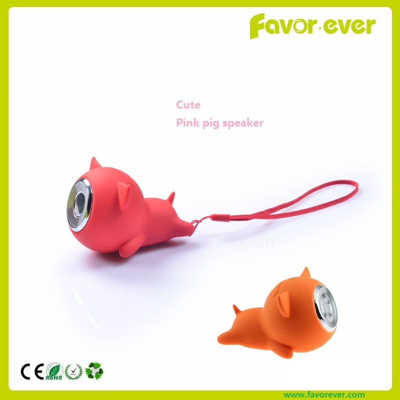 Hot sale mini pig shape silicone case tf card music play portable outdoor use bluetooth speaker