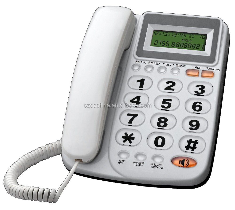 Cheap Caller ID Analog Fixed Phone with Multi-function Hands-free Telephone
