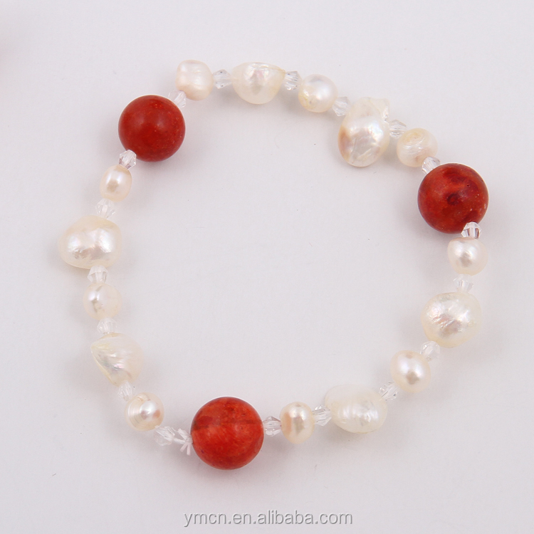 red stone and near round Freshwater Pearl Bracelet With high quality silver fashion jewelry