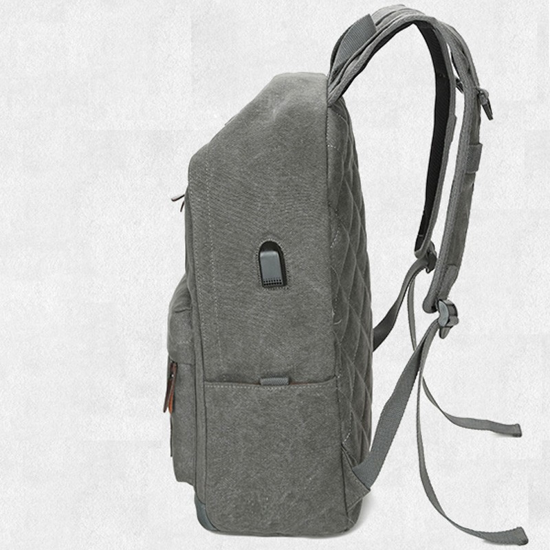 gray shoulder school backpack with USB port for daily use