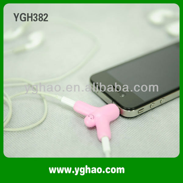 2 way headphone splitter with Suction Stand