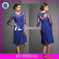 M1224 Young Lady Sheer Sleeves Lace Appliqued Knee Length Mother Of The Bride Dress With Sleeves