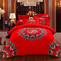 Home textile pure cotton pinkish red color double size modern beautiful bed sheet sets Wedding Bedding Set