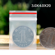 3x4cm Red Edge Transparent Slider Zipper Bag Use For Packaging Seeds