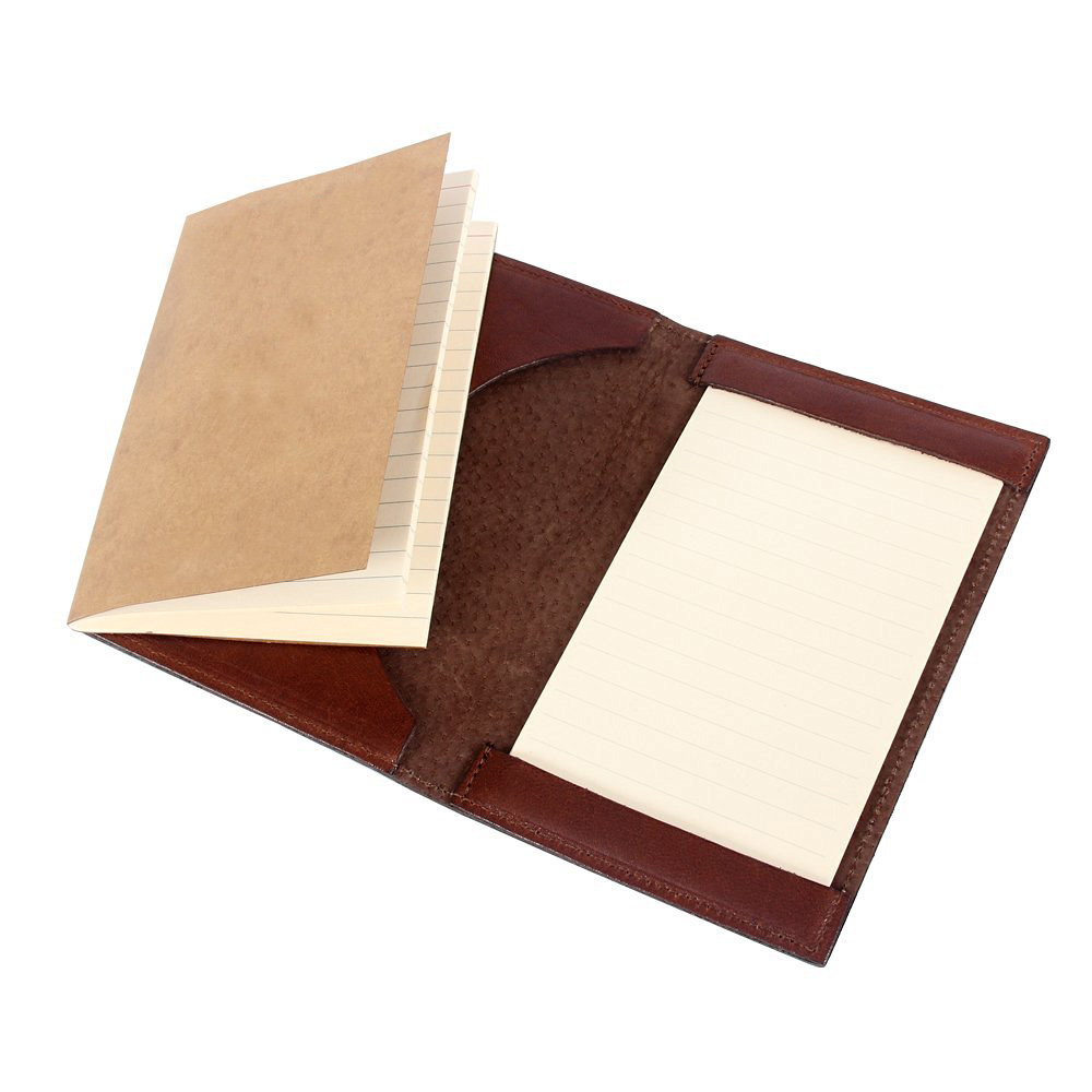 Brown travelers notebook leather hunting journal writing notepad, custom journal can hold booklet and pad fine gift for family