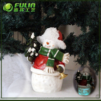 Standing led lighted christmas snowman resin craft with tree for christmas tree decoration