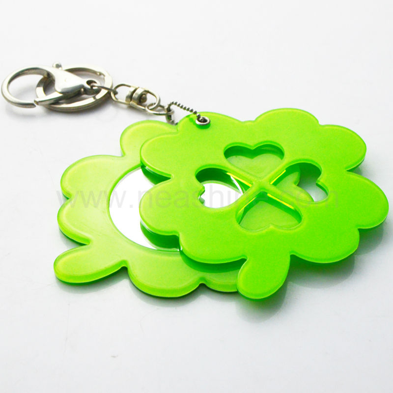 leaf shaped plastic small acrylic compact mirror with key chain