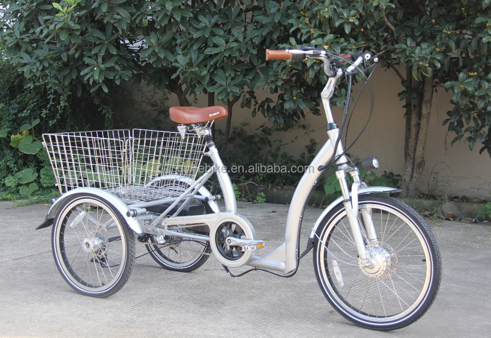 "22""*1.75 Three wheel 250w electric tricycle for adults to go shopping"