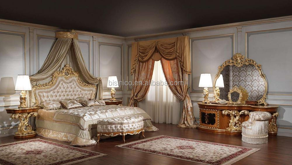 Classic Baroque Style Full Solid Wood Hand Made Bedroom Set, Royal Wedding Bed