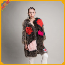 Fashion style italian design ladies long coat design raccoon fur coat