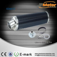 125mm*410mm Carbon Fiber Pipe Steel End Cap Exhaust Muffler For Motorcycle