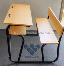 Popular school furniture wooden student double desk attached chair set