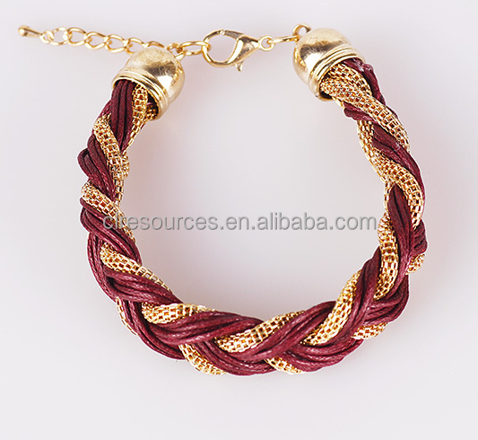 2015 fashion wholesale leather bracelet with gold chain twist handmade in yiwu zhejiang