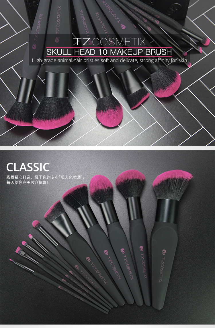 TZ cosmetics new 10pcs skull TZ Brand oval 10pcs Makeup Brushes Sets Makeup Brush