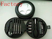 New Item tyre shape hand repair mini car tool kit in wheel
