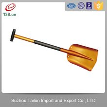 folding gold plated snow shovel with adjustable handle