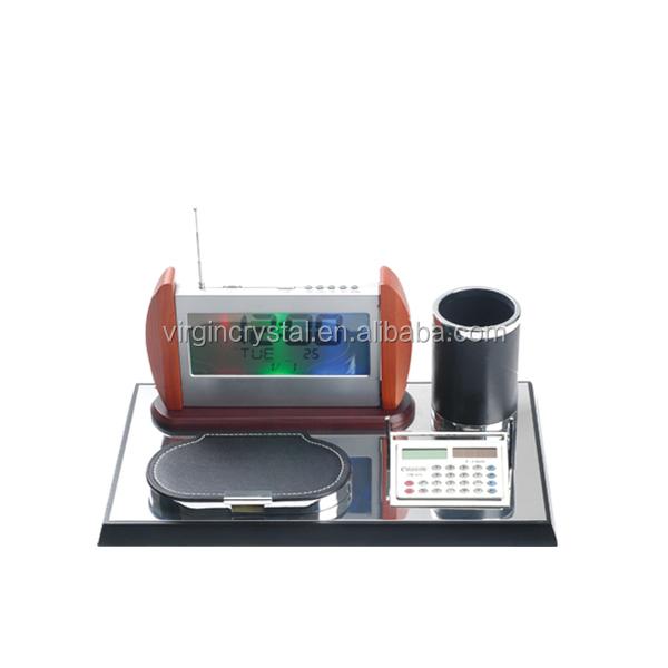 Hot Sale Wooden Desk Set with Digital Clock, Memo Holder, Pen Holder and Calculator