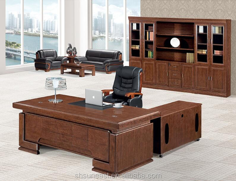 Luxury modern design L-shape office desks wooden boss manager executive office counter table