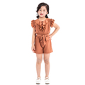 Best selling new design champagne little girl romper ruffle one piece jumpsuit