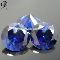 Huge size 34# round brilliant cut blue sapphire gems price per carat