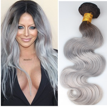 100 percent remy brazilian hair body wave grey human hair for braiding
