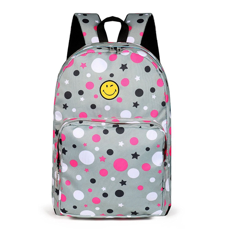 Stylish smile face cute school backpack school bags design for teenager kids