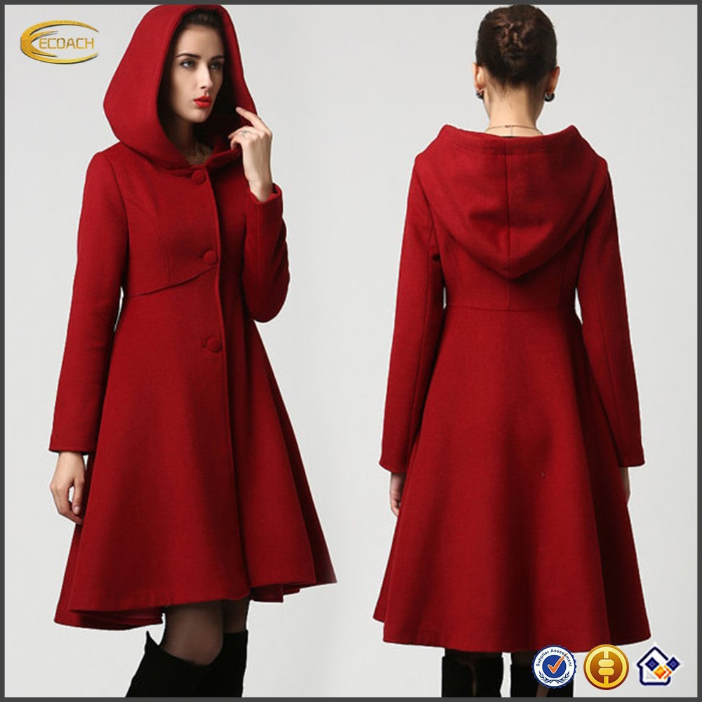 Fashion Women Red Wool Midi Winter Coat Dress With Hood - Buy Coat ...
