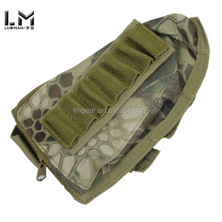 Rattlesnake Camo Tactical Military Pouch Holder w/ Cheek Leather Pad magazine Molle bag for hunting airsoft Rifle gun Stock Ammo