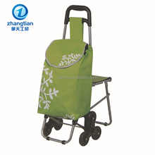 6 wheels high quality folding shopping trolley cart bag with chair