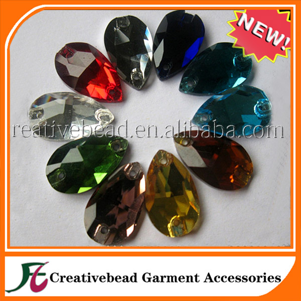 Wholesale Loose Glass Flatback Teardrop Rhinestones For Clothing Accessories & Wedding Dresses