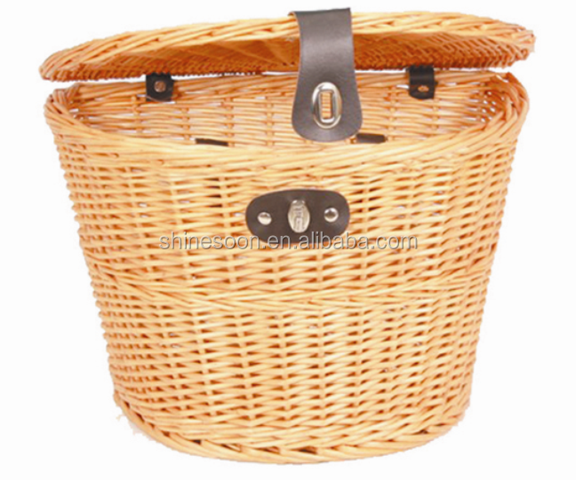 wicker basket for ladies bike removable wicker bicycle basket with cover