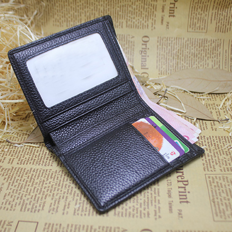 wm2689 Black Bifold Men Genuine Leather Wallet with ID Photo Window