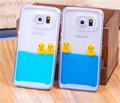 Flowing Liquid Swimming Yellow Duck Clear Cover Coque for iPhone 6 6 Plus 5S 5 4S 4 Samsung Galaxy S6 Edge S5 S4 Note 4 3 2 Case