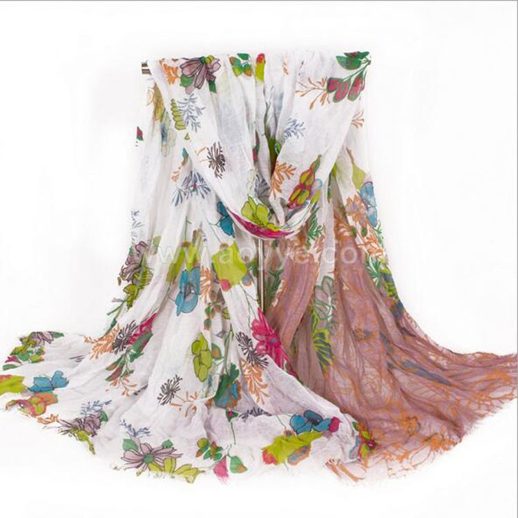 New hundred flowers printing fold voile fringed scarf