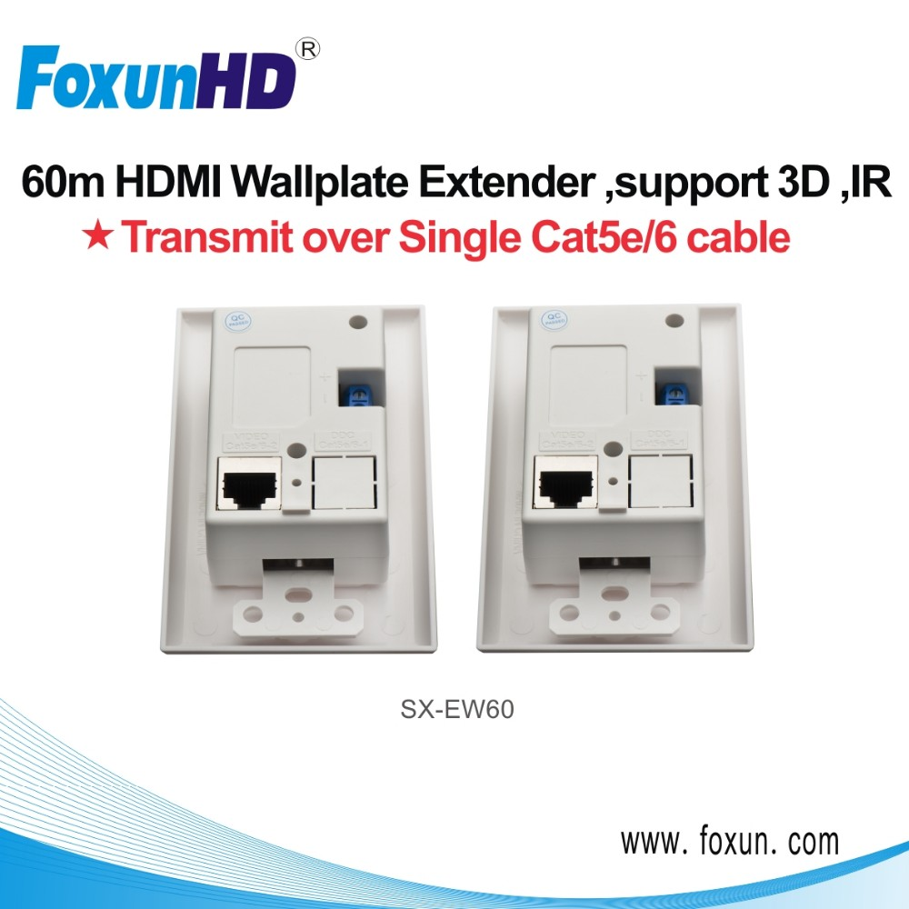 8-bit 60m transmit 3D 1080p Multimedia Wall Plate for HDMI output support DTS-HD Master audio