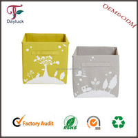 High Quality Textile Printed Fabric Folded Large Storage Box with Lid