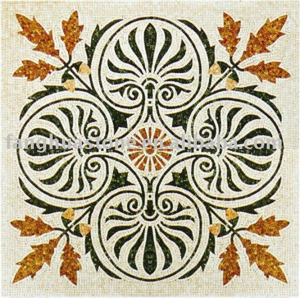 shaped marble leaf pattern mosaic floor medallion
