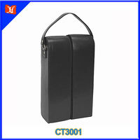 Carring Handle Zip Around Design Genuine Leather Wine Carrier
