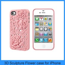3D Sculpture Rose Flower Peony Soft Silicone/Plastic Case Cover Skin For iPhone 4 4GS 4S