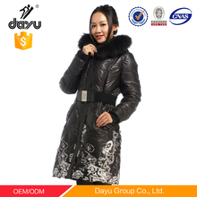 Flower printing Bright Warm Woman Long Down Coats With Raccoon Fur Hood belt down jacket