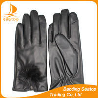 2016 ladies smart phone touch screen sheepskin black fashion leather gloves