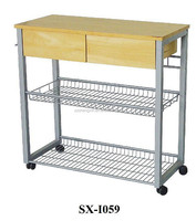 Restaurant Metal Stainless Steel Trolley with Baskets and Wheels