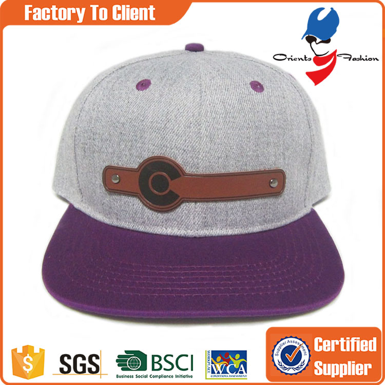 custom leather patch logo snapback hats caps wholesale