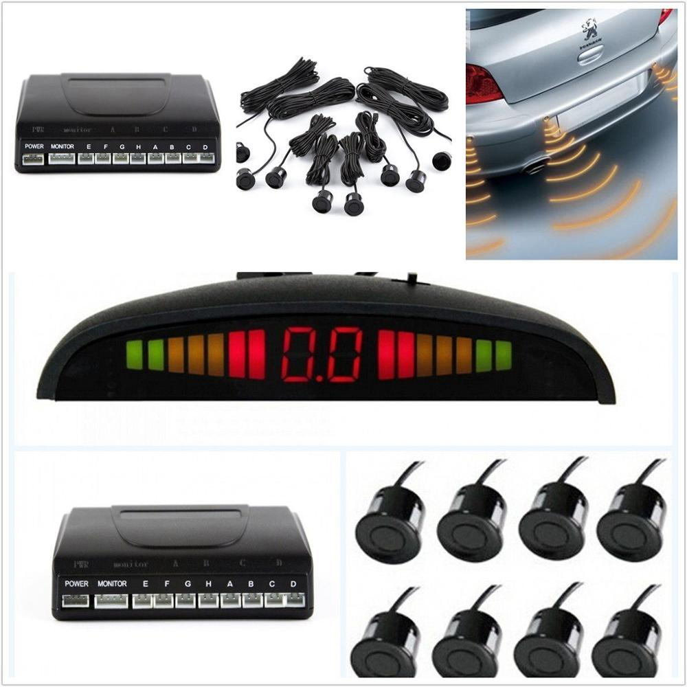 Auto Car Reverse Backup LED Display 8 Parking Sensors Radar Alert Alarm System