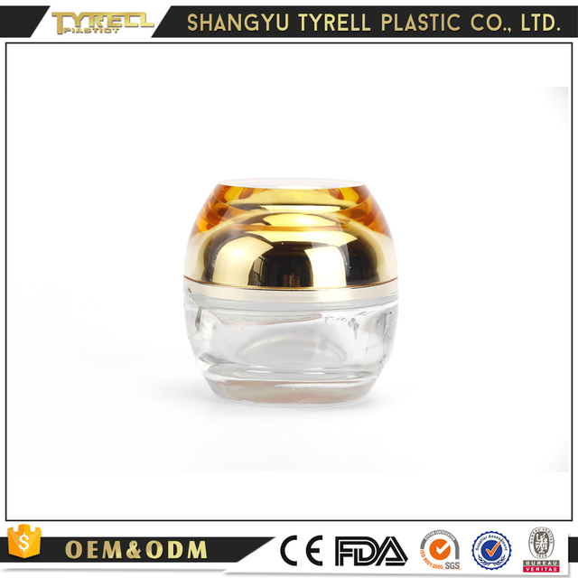 2018 Tyrell Fashion golden lid clear 50g glass cream jar cosmetic containers