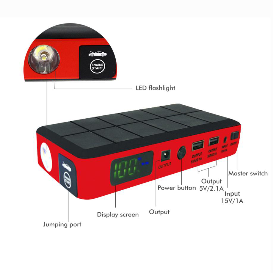 Hot wholesale 12V 10500mAh 60C emergency compact booster bag car battery high power car multi-function jump starter